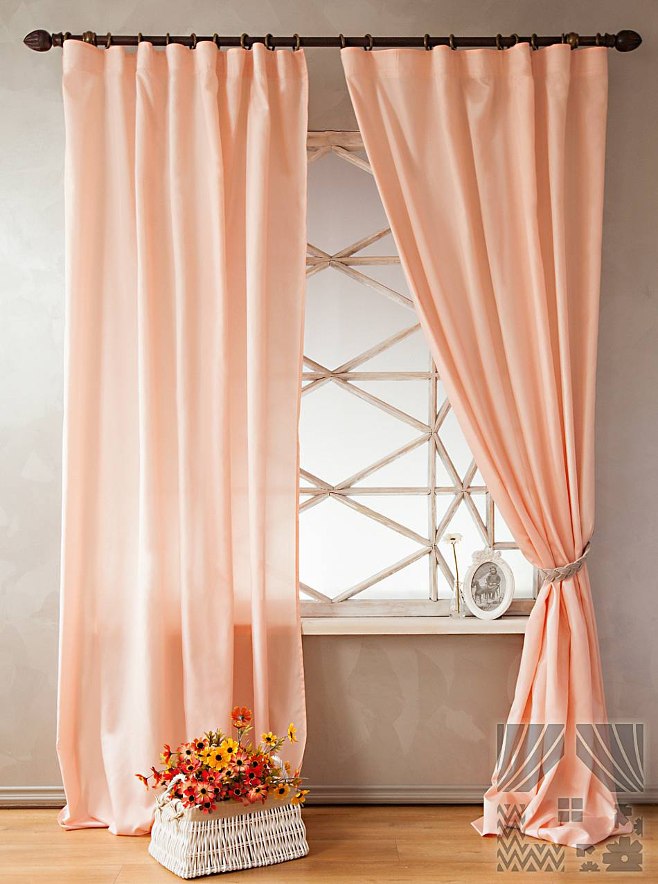 Шторы персикового цвета фото