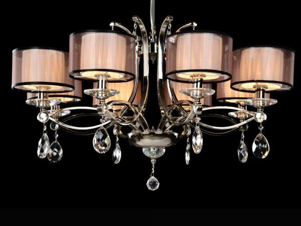 Купить Люстра, NEWPORT 1608/C , Chrome Crystal clear Combined shades D80*H55 cm E14 8*60W